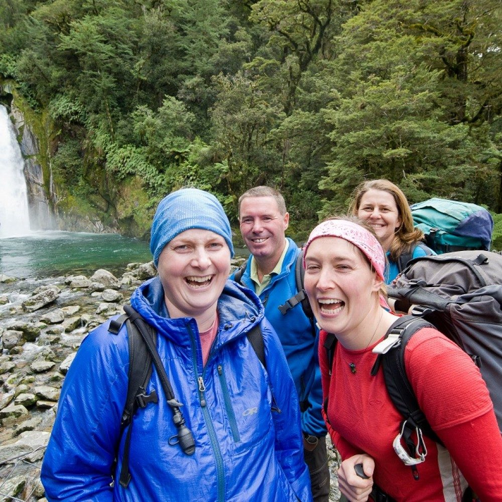 Milford Track multi-day trampers at Giant Gate