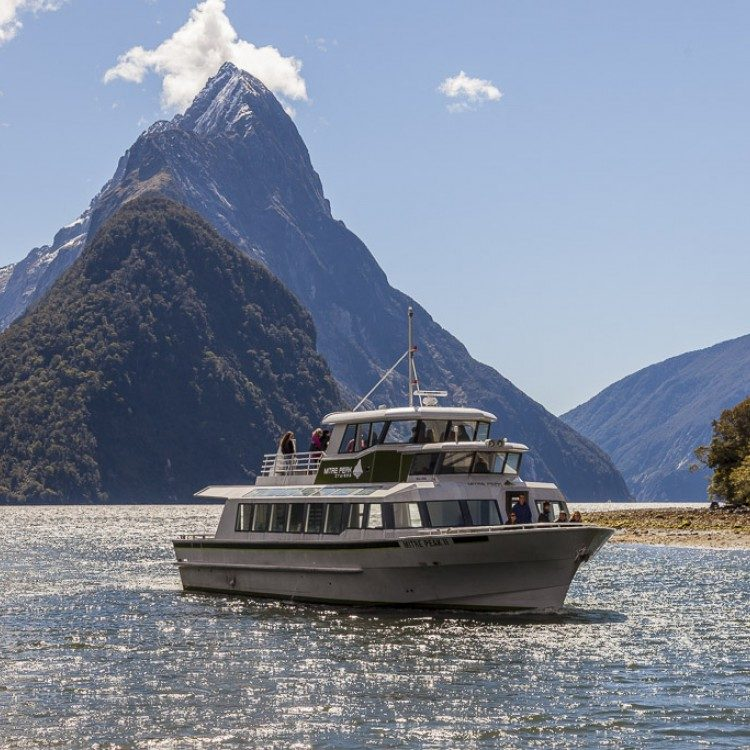 Catch Mitre Peak from the comfort of your small boat.