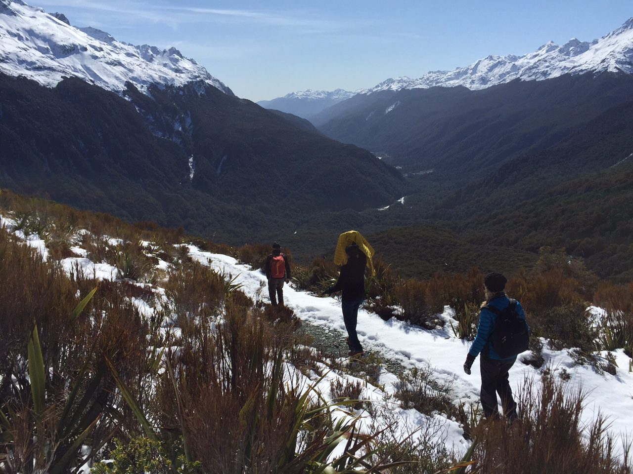 people walking on a hiking above the bush line with snow on the trail