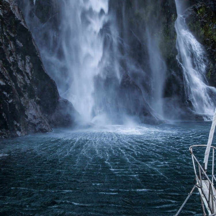 Stirling Falls in Milford Sound has awesome power, so get out on deck and feel it!