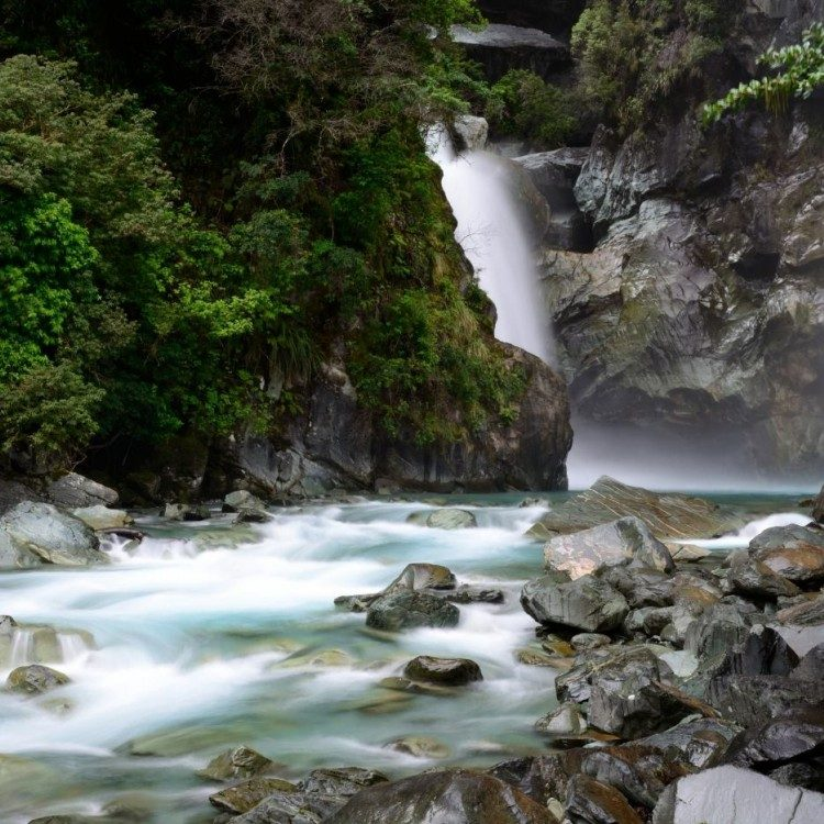 Gin clear rivers and waterfalls are seen along the Hollyford Track.  Book your Hollyford Track transport with us.