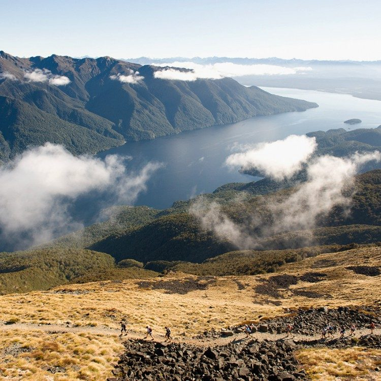 Kepler Track and hikers from the air on the Kepler Heli Hike