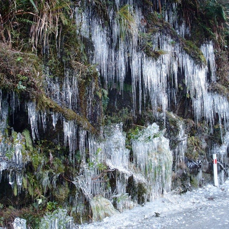 Icicles forming along the Milford Road in winter