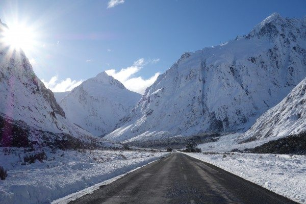 Snow is often encountered on the Milford Road, particularly in Winter