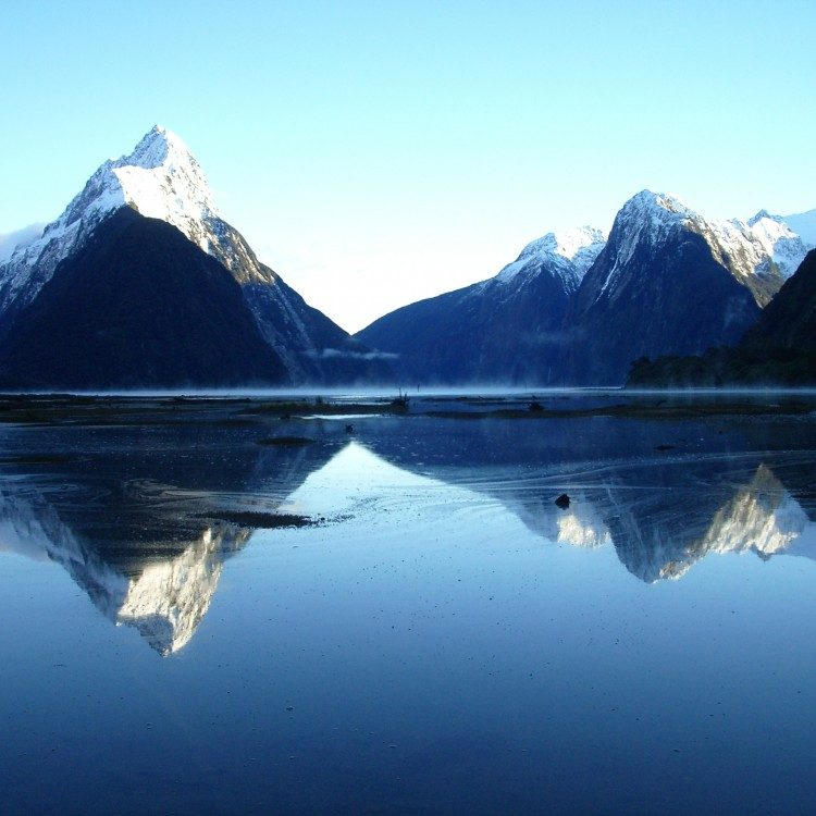 Snow on the top of Mitre Peak, Milford Sound in Spring time