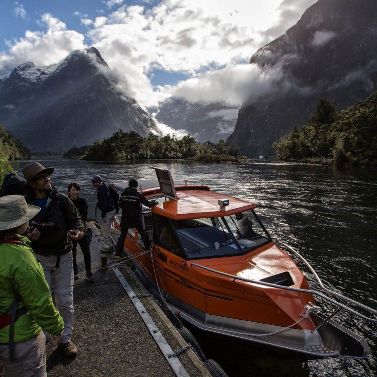 Water taxi to Sandfly Point on Milford Track