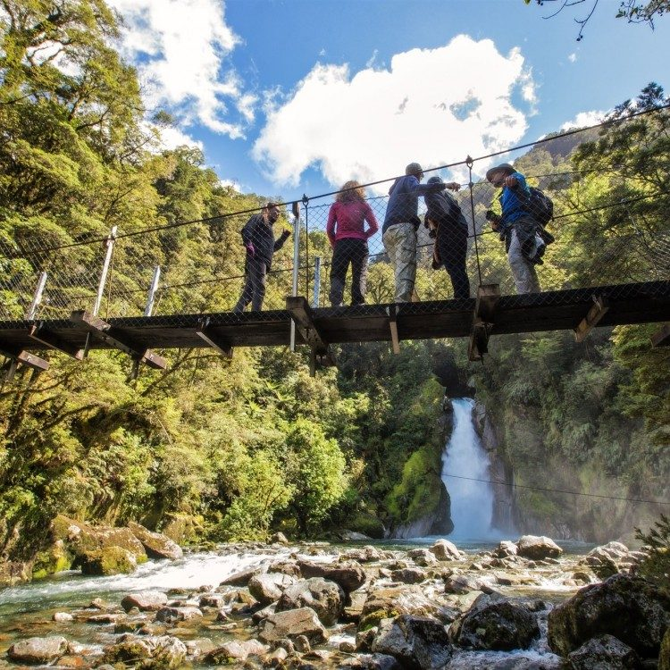 Get the best waterfall view from the Giant Gate Falls swing bridge