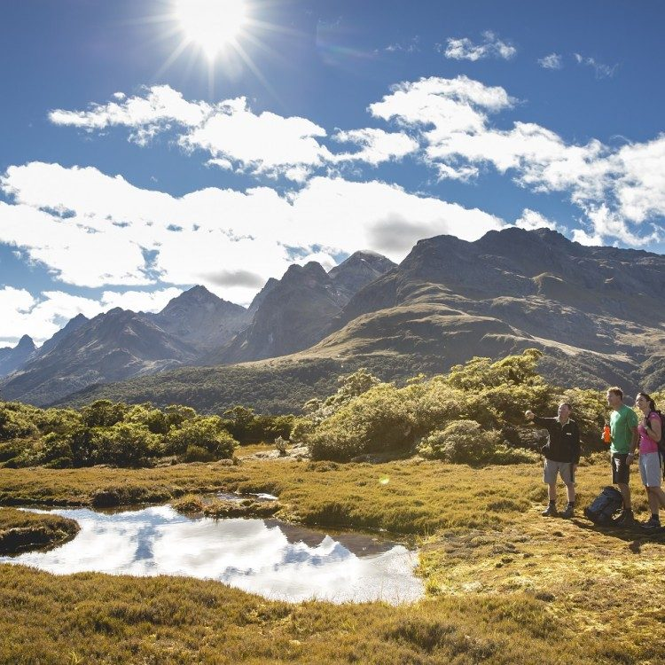 Views and alpine tarns along the tops at Key Summit with your local guide