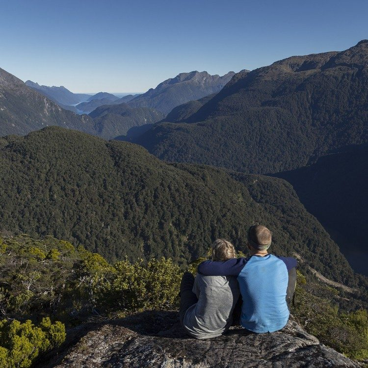 Enjoying the extensive views of the Dusky Track on a lunch break